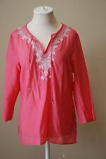 EXPRESS Womens Pink Cotton Silk Embroidered Tunic Top Size M