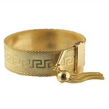 Ancient Greek Gold Overlay Greek Key Adjustable Bracelet with Tassel