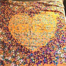Kenzo Silk Scarf Floral Heart Print Orange Colorful Large Wrap 51x51 Square