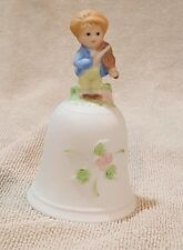 """Vintage Japan Porcelain Bell With Little Boy On Top Playing A Violin 4 1/2"""" Tall"""