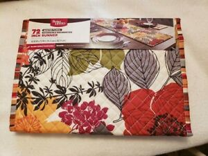 """Better Homes Quilted Floral Reversible Decorative Table Runner 14"""" x 72"""" Fall"""