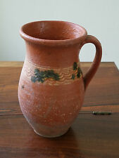 *Antique Early 1900's Romanian Country Folk Art Pottery Redware Clay Pitcher*