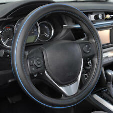 ACDelco Premium Smooth PU Leather Steering Wheel Cover Blue Stitch Accent