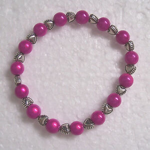 Miracle Bead Stretch Bracelets with Heart Spacers Fashion Jools Handmade