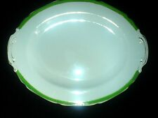 GRINDLEY White/Green/Gold Petal Edge 12 1/2 inch Serving Plate