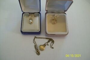 GOLD FILLED SMALL LOCKET NECKLACE, 14K DOLPHIN PENDANT + 10K NECKLACE LOT