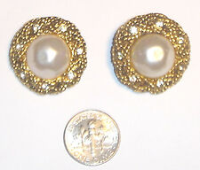 Fabulous VINTAGE Gold Braid CRYSTAL/PEARL Button CHANEL EARRINGS France