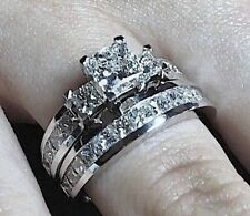 3.05CT GENUINE PRINCESS CUT DIAMOND ENGAGEMENT RING BRIDAL SET 14k WHITE GOLD P8
