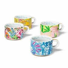 Lilly Pulitzer Porcelain Espresso Stacking Cups Mugs Set Caddy Stand Target XXO