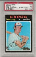 1971 TOPPS #42 BOOTS DAY, PSA 7 NM, STADIUM LIGHTS BEHIND EAR, MONTREAL EXPOS