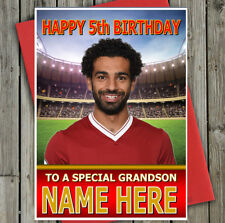 MO SALAH Personalised Liverpool Fan Birthday Card! ANY NAME - AGE - RELATIVE !!!