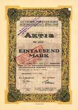 Getreide - Finanzierung AG Düsseldorf histor. Gründeraktie 1922 Bank Handel NRW