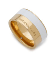 Michael Kors Double Tone GOLD & WHITE Colorblock Band Ring Size 7