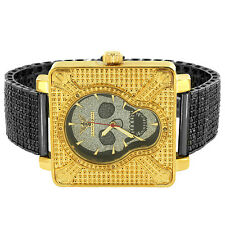 Gold Tone Skull Design Watch Mens Custom Black Iced Band 0.05 Ct Real Diamonds