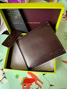 Ted Baker Mixed Leather Bifold Wallet Black With Box