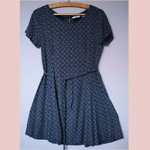 Fat Face Floral Navy Blue Short Skater Dress With Waist Tie Size 8 10