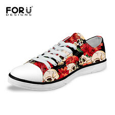 Funky Skull Shoes Women Low Top Canvas Sneaker Flat Lace Up Comfort Casual Shoes