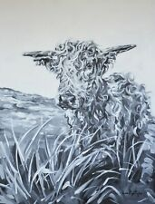 ORIGINAL Hand painted Cow Painting Art Artwork signed by artist Leah Taylor