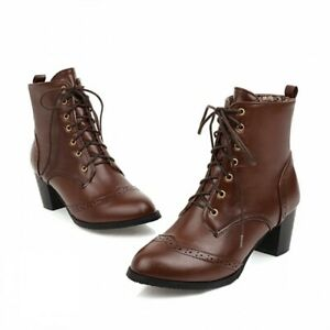 Women's Round Toe Wing Tip Ankle Boots Lace-up Chunky Heels Motor Shoes 44/48 D