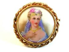 Limoges Hand Painted Porcelain Young Lady w/ Pearl Necklace & Earrings Brooch