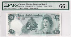1971 Cayman Islands 5 Dollars P-2a S/N A/1364008 PMG 66 EPQ Gem UNC