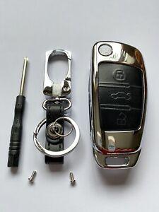 REMOTE KEY FOB COVER CASE METAL LEATHER FITS AUDI KEYS A1 A3 A4 A6 TT Q3 Q5 Q7