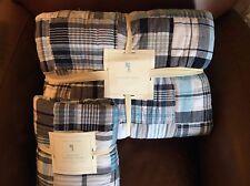 POTTERY BARN KIDS Madras Plaid Twin Quilt & EURO Sham Set NEW - AQUA