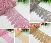 H39L 2Yard Delicate Polyester Flower Embroidered Applique Lace Trim Sewing Craft