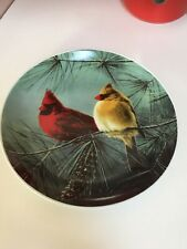 Hautman Brothers Hand Painted- Signed Decorative Plate - Cardinals-Male & Female