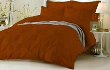 AU Puckered Ruffle Pintuck Pinch Duvet Cover & Pillowcase Bedding Set Brick Red