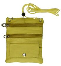 Yellow Passport Leather ID Holder Neck Sling Pouch Travel Wallet String Purse