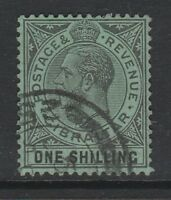 GIBRALTAR 1921-27 1/- BLACK/ EMERALD SG 98 FINE USED.
