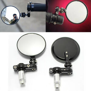 """CNC Motorcycle Bar End Mirrors Rearview Side Round 7/8"""" Motorbike Universal NEW"""