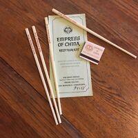 Vtg Empress of China Restaurant memorabilia Chinatown chop sticks matchbox menu