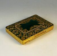 Antique Gilded Brass and Green Enamel Business Card Case