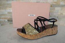 MIU MIU tg. 38,5 Sandalo Plateau sandali Brillante black Scarpe
