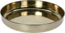 Extra Large 42cm Round Gold Serving Tray Stainless Steel Deep Tray Hammered