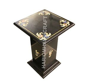 """18""""H 12"""" Dia Marble Black Stand Table Top Base Leg Marquetry Inlay Decor E773(1)"""