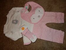 NWT 3-6M GYMBOREE Girls FOREST OWL 4pc Set Pink Pants ROMPER Socks Bib Outfit