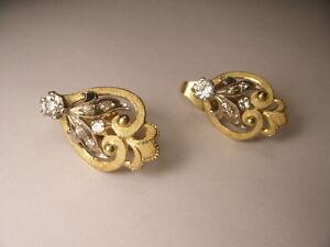 Stunning Estate 18K Gold 2-Tone Two-Tone Diamond Filigree Earrings