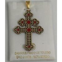Gold Damascene Patriarchal Cross Pendant by Midas of Toledo Spain