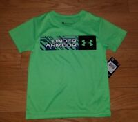 Boys UNDER ARMOUR HeatGear Green Athletic T-Shirt Top Sz 4 NEW NWT