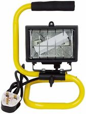 150W PORTABLE HALOGEN FLOOD LIGHT WITH STAND ADJUSTABLE WORK SITE LAMP HAND HELD