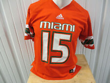 ADIDAS UM MIAMI HURRICANES #15 FOOTBALL LARGE YOUTH ORANGE JERSEY WOMEN'S