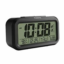 Peakeep Dual Alarm Streamlined Night Activated Smart LCD Big Digital Clock