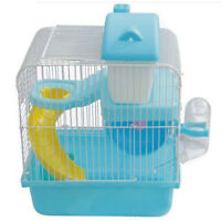 Hamster Gerbil Mouse Small Pet Cage 2 Storey Levels Floor Water Bottle Wheel ED