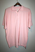 NEW Mens AMERICAN APPAREL Light Solid Pink Short Sleeve Fine Pique Polo 2X  2XL