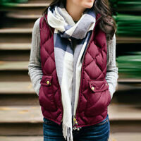 Womens Zip Sleeveless Waistcoat Vest Stand Collar Quilted Gilet Warm Coat Jacket