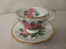 """Queen Anne Fine Bone China England """"Camellia"""" Footed Teacup & Saucer Pink Flower"""