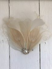 Cream Ivory Pearl Feather Fascinator Hair Clip Bride Bridal Races Party Wedding